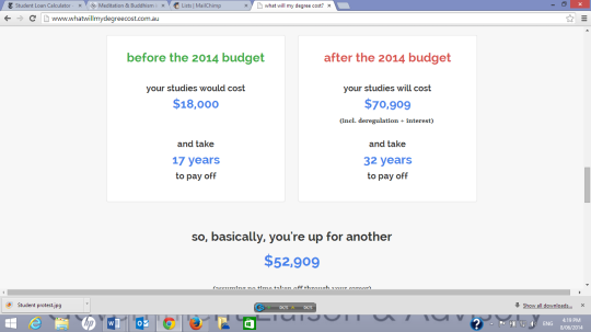 The cost of an Arts degree, according to the Greens calculator of Doom.