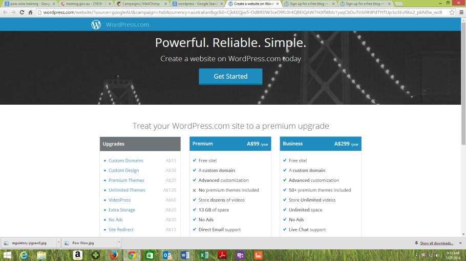 Wordpress start